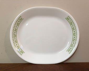 Corelle Honeydew Summer Impressions Lime Green Floral Serving Platter