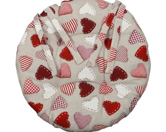 """Round Chair pad D.40cm """"Red hearts"""""""