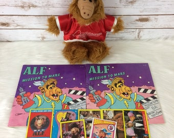 Vintage ALF Lot Plush Baseball Puppet Trading Cards Books 80s 90s Orbiters