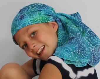 Ava Joy Children's Pre-Tied Head Scarf Girl's Cancer Headwear Chemo Head Cover Alopecia Hat Head Wrap Cancer Gift Hair Loss Blue Tie Dye