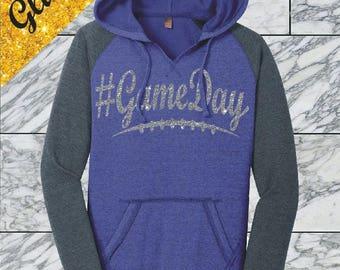 Glitter Football Mom Hoodie Game Day Shirt Game Day Football Mom Glitter Football Shirt Game Day Glitter Shirt #Gameday Shirt Custom DM296