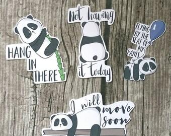 Cute Wordy Panda Die Cuts l Not today | Hanging in there Die Cut | Planner | Die Cuts | Cute Die Cut | Fashion Girl |TN | Travelers Journal