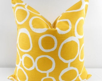 SALE Yellow Pillow cover. Yellow and White Pillow Cover.Free Hand. Sham Pillow case. Select your size.