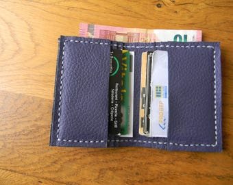 Hand made purple leather card holder