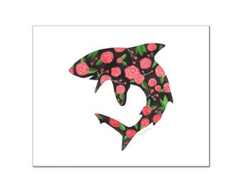 Shark, Floral Print, Shark Decor, Shark Art print, Girls nursery, Nursery artwork, printable art, wall decor, Custom digital, Floral, 8x10