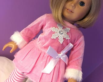 SALE Fits American Girl doll clothes pink velour snowflake top with sparkle tulle, and leggings