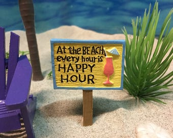Miniature Beach Happy Hour Sign - Miniatures - Miniature Beach - Beach Miniatures - Beach Wedding - Wedding Cake Toppers - Beach Terrarium