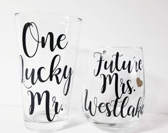 engagement gifts for couple, Future Mrs, One Lucky Mr, Engagement Gift, Bride and Groom Glasses, Bride to be