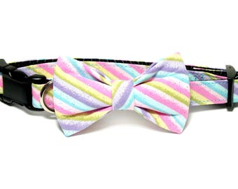 Easter Glitter Stripes Dog Collar Bow Tie set, plaid, pet bow tie, collar bow tie, wedding bow tie