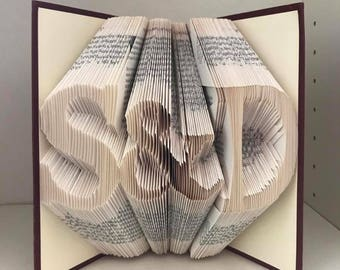 Folded book art - Initials with & or heart - wedding gift, anniversary gift, birthday gift, christmas gift, teacher gift, graduation gift