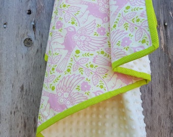 Pink and lime green baby blanket-bird baby blanket-cotton baby blanket-ivory dimple dot minky-Pink birds girl blanket-baby girl shower gift