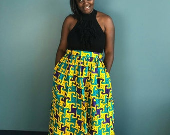 African clothing, African skirt, african skirts, ankara skirt, ankara, african maxi skirt, african print skirt, ms alaba, yellow green