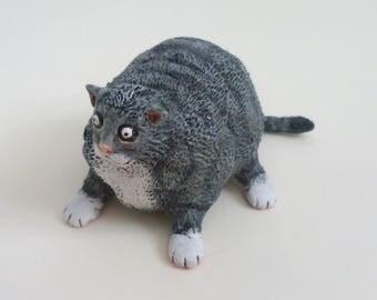 Fat Cat Figurine - Handmade Cat Sculpture, Folk Art Cat Decor