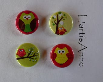 Magnets-magnets or Pinback button owls.