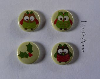 Magnets Christmas owls Badges or magnets.