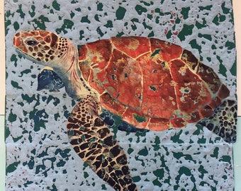 "Sea turtle art,  turtle painting, coastal wall decor, pallet wall art, nautical art turtle pallet wood art, beach home decor, size 15x13.5"""