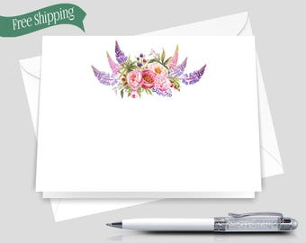Floral Stationery Set _ Set of 12 with Envelopes _ Signature Collection _ Personalized Statinery _ HWM006