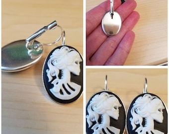 Lady skull earrings  skull jewelry  skull earrings  cameo jewelry womens earrings womens jewelry gifts under 20
