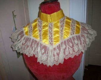 Antique lace collar/caplet of embroidered cotton netting/silk 1900s luscious color