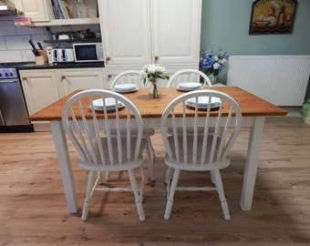 Solid Pine Farmhouse table & 4 chairs , Shabby chic