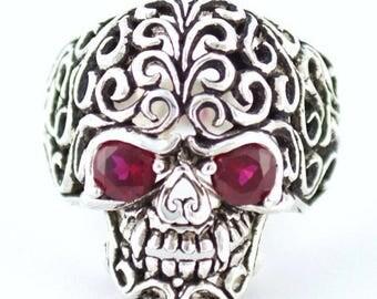 Anniversary SALE Sterling Silver 925 Biker Skull Ring Redy Eyes Made in USA