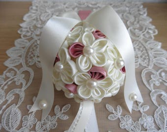 Wedding Pomander Flower Girl Bouquet Kissing Ball Ivory & Dusky Pink Kanzashi Flowers Pearls Satin Ribbon Handmade