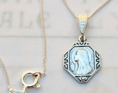 Necklace - Tiny Mary of Magdala w/ Alabaster Jar 13x17mm - Sterling Silver + 18 inch Italian Sterling Silver Chain