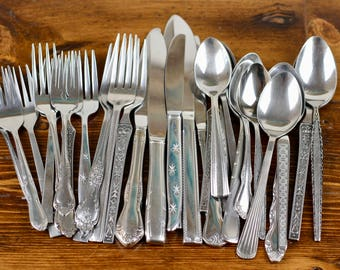 Mismatched Stainless Flatware Vintage Silverware Japan USA 30pcs Set for 6