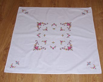 Elegant White hand embroidered square floral traycloth Multicolour Flower Embroidery needlepoint rose Table top flowery dresser scarf Polish
