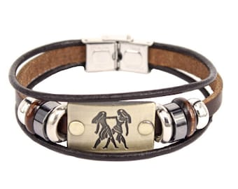 Gemini Constellations Zodiac Signs Beaded Charm Bracelet With Stainless Steel Clasp Leather Bracelet for Men or Women
