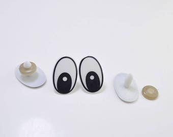 15 Pairs large Oval Black Comic Eyes with Washers,White Safety Eyes,Printed Eyes,plastic eyes,animal eyes,doll eyes,toy eyes - 29mmx19mm