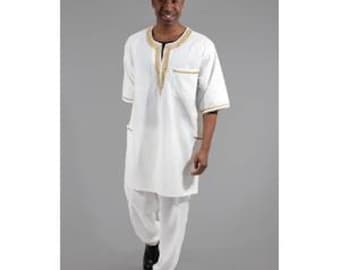 African Mens Luxury Pant Set White