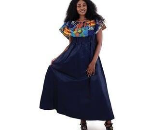 African Print Denim Ruffle Dress