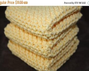 10% OFF SALE Yellow Knit Dish Cloth, Yellow Knit Dishcloth, Set of 3