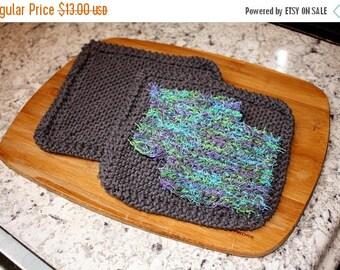 10% OFF SALE Knit Dish Cloth Knit Dish Scrubbie Set, Gray Knit Dish Cloth Set, Dish Scrubbie Set Blue Green
