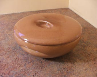 Vintage 1950s Russel Wright Iroquois Casual Ripe Apricot Covered Casserole Dish with Lid