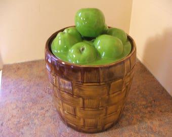 Vintage 1960s Doranne of California Basket of Apples Cookie Jar
