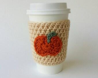 Crochet Coffee Cup Cozy, Coffee Cozy With Pumpkin, Travel Sleeve, Coffee Cozy