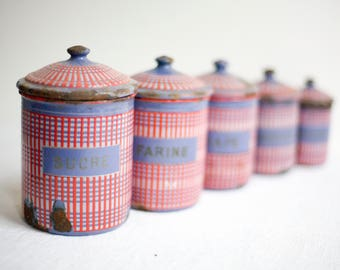 5 kitchen canisters, French enamelware storage jars, vintage French country decor, red and blue enamel canisters with lids
