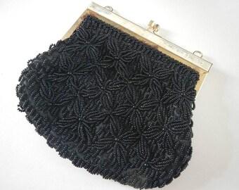 Vintage Women's Black Beaded Evening Purse Handbag- handmade in Hong Kong- 1960s- retro, formal, wedding, dressy, evening,homecoming,mad men