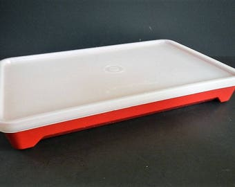Vintage Tupperware Hot Dog Deli Keeper or Bacon Storage Container - brick red, sheer - 1970s - #1292, 1293, meat tenderizer, marinade