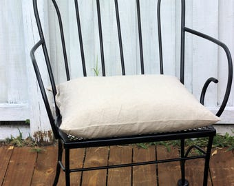 flax linen square chair cushion pad with feather pillow insert