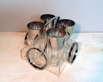 Mid Century Silver Ombre Highball Glasses with Coasters in Caddy / Dorothy Thorpe Style Highball Glasses with Coasters in Carrier / 1960's