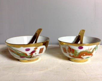 Pair of Chinese Porcelain Gilded Dragon and Phoenix Rice or Soup Bowl with Spoon / Asian Rice Bowl, Soup Bowl with Spoons
