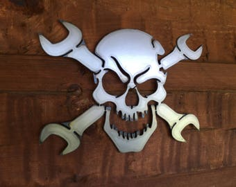 Gear Head Skull and Wrenches Metal Wall Art