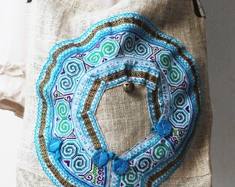 Bag handmade vintage Woven Cotton HEMP Native Thai Tribal Ethnic Hmong Textile Striped (V040)