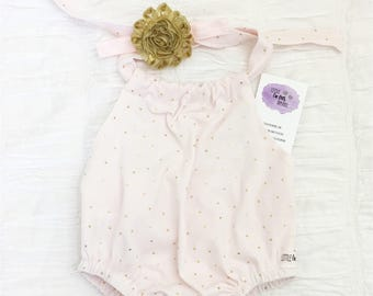 Sale!! Pink romper. Sun suit Romper. Baby Romper. Baby girl Rompers. Pink and Gold.