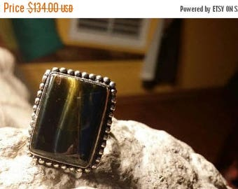 Holiday SALE 85 % OFF Tiger Eye Ring Gemstone. 925 Sterling  Silver Size 8