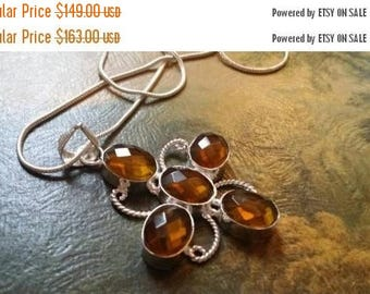 Holiday SALE 85 % OFF Citrine Pendant   Necklace Chain .925 Sterling  Silver
