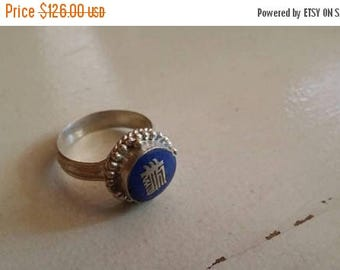 Holiday SALE 85 % OFF Size 9.5 lapis lazuli  OM Ring Gemstone. 925 Sterling  Silver